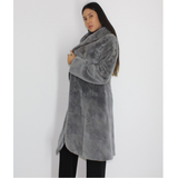 Cold grey shaved mink pat coat with hood