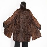 Astrakhan brown coat with brown mink collar