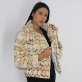 Beige and brown mink pieces jacket