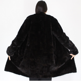 Black shaved mink pieces coat