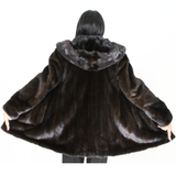 Black-ranch mink jacket with hood