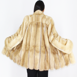 Pastel mink jacket with leather stripes
