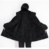Astrakhan black jacket with mink collar