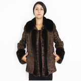 Astrakhan brown jacket with dark brown mink trimming