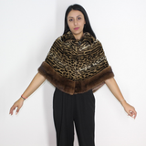 Ocelot with mink trimming stole