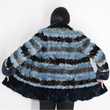 Colored in blue shades mink pieces jacket
