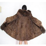 Astrakhan brown coat with hood and brown fox trimming