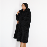 Astrakhan black coat with hood