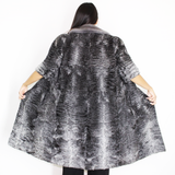 OMIKRON Astrakhan grey vest with silver grey mink collar