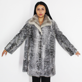 Astrakhan grey coat with sapphire mink collar