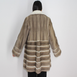 Silver grey mink ¾ coat with white mink stripes and collar