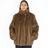 Dark pastel mink jacket with hood