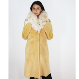 Apricot colored shaved nutria coat with fox collar