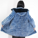 Blue colored mink in big pieces jacket with hood