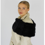 Black colored mink collar
