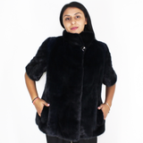 Blue-black colored mink vest