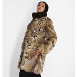 Lynx pieces coat with mink collar