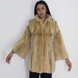 Colored black-cross pink gold mink jacket
