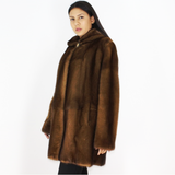 Wild-glow mink ¾ coat with hood