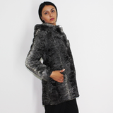 Astrakhan grey anthracite jacket with hood