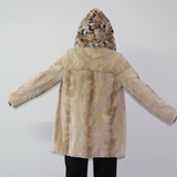 Sand Shaved mink jacket with lynx hood (pat)