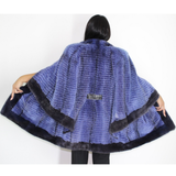 Colored Blue-violet Mink with stripy effect and blue violet trimming