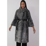 Astrakhan grey coat with ¾ sleeves
