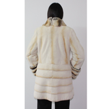 Pearl shaved mink ¾ coat with chinchilla trimming