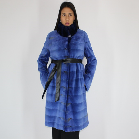 Electric-blue colored shaved mink coat with chinchilla collar