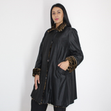 Black wild silk and Ocelot Double-face coat