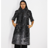 Astrakhan grey vest with silver grey mink collar