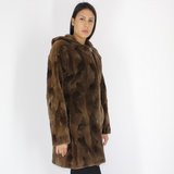 Demi-buff shaved mink pieces ¾ coat