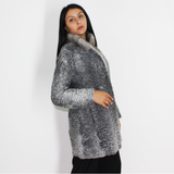 Astrakhan grey jacket with sapphire mink collar