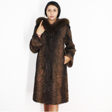 Astrakhan brown coat with fox trimming hood