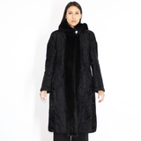 Astrakhan black coat with mink trimming