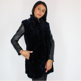 OMIKRON Blue-black shaved mink pieces vest