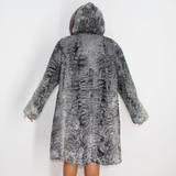 Astrakhan grey coat with silver grey mink trimming