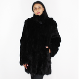 Black colored lynx pieces coat