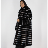 Black with stripes of white shaved mink coat