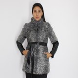 Grey Astrakhan vest with mink collar