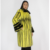 Black-cross yellow colored mink coat with black mink trimming
