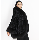Broadtail Astrakhan black cape-jacket with black fox trimming