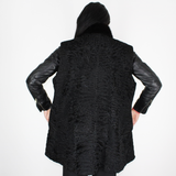 Black Astrakhan vest with mink trimming