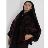 Shaved Black Bordeaux colored mink in pieces with hood and black mink in pieces trimming