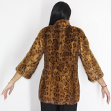 Animal print stamped mink jacket