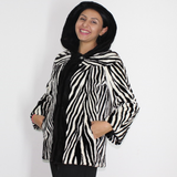 MI Black and white shaved mink pieces jacket with hood