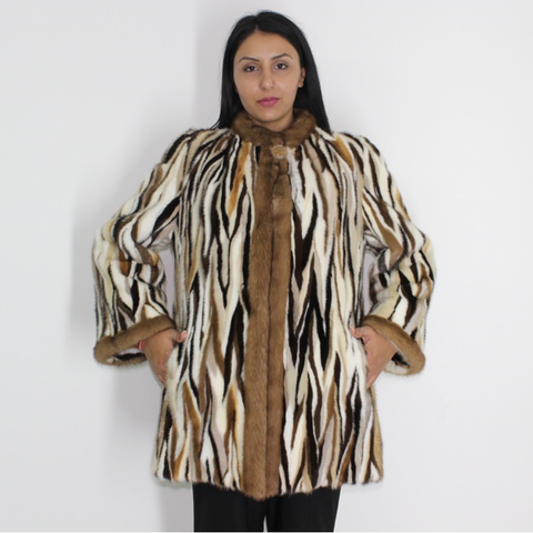 Multi-colored mink ¾ coat