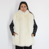 White shadow fox vest