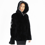 FI Colored black shaved nutria pieces with hood jacket