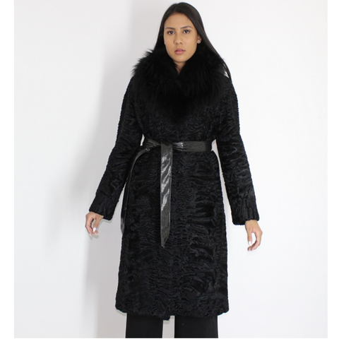 Astrakhan black coat with fox collar